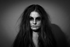 Sore eyes. (Paulius Bruzdeilynas) Tags: portrait halloween girl hair scary women sony ghost wife cry badhair badhairday blackeyes sonyalpha sonya7ii