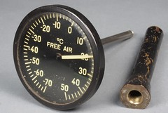 1944 Flying Fortress outside air temperature gauge (edk7) Tags: ontario canada technology aviation military wwii meter artifact 1944 artefact aeronautics metre 2016 aeronautical metrology usarmyairforces edk7 olympuspenliteepl5 rochestermfgcoinc typec13b freeairtemperaturegauge externaltemperaturegauge brassprotectiveshroudfitting bimetallicoperatingelement radiumradioluminescentinstrumentdial