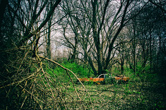 The Secrets That We Keep (Off The Beaten Path Photography) Tags: trees abandoned nature digital rural canon woods automobile automotive lincoln dslr ruraldecay naturevsman canon60d abandonedindiana abandonedamerica