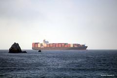 Un gigante avanzando hacia el puerto de San Vicente (Ricardo Obando) Tags: chile canon puerto lenga barco sigma t5 navegando contenedores talcahuano ocano sanvicente ocanopacfico carguero caletalenga t5i