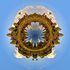 A little planet of Angkor Wat (jh_tan84) Tags: blue sky water clouds photoshop cambodia angkorwat planet littleplanet