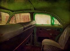 Inside the Green Classic (augenbrauns) Tags: green classic car vintage photo havana cuba manipulation