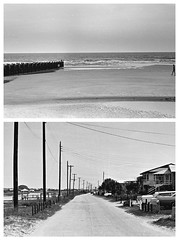 pawley's island 1973 1 - scenes (Doctor Casino) Tags: road street beach silhouette pier wooden surf utility powerlines telephonelines poles pilings