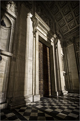 The doorway to St Pauls Cathedral (richardsercombe) Tags: st night cathedral pauls doorway richard sercombe