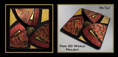 Fimo 50 World Project Tile (Helen Breil) Tags: polymerclay silkscreen helenbriel