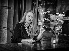 cocktail lady (Daz Smith) Tags: city uk portrait people urban blackandwhite bw woman streets blancoynegro monochrome canon blackwhite bath cigarette candid young citylife thecity streetphotography smoking cocktaildrink canon6d dazsmith bathstreetphotography