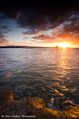 (Claire Hutton) Tags: uk light sunset sea sun cold colour water ferry clouds contrast coast jetty wideangle chain dorset burst sandbanks poole ndgrad leefilters sonya6000 samyang12mm