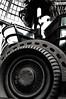 Spinning Wheels (Poocher7) Tags: blackandwhite art water monochrome mall lights wheels waterfountain futuristic fallsviewcasino dollarsigns isolatedcolour