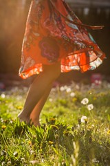 Dance With Spring (Janey Song) Tags: sunset people girl grass dance spring dress ngc skirt dandelions glenmorepark vancouvercanada ef85mmf12liiusm omot cans2s canon5dmarkiii