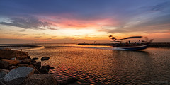 Sunset in Penang (FAM Martin Z) Tags: travel light sunset panorama cloud sun holiday color reflection water colors beautiful clouds speed river boat moving nice movement colorful glow pano ngc wave special malaysia extra balikpulau seldom pulaupinang my canon5dsr 5dsr