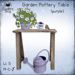 Garden Pottery Table - Purple (Spinnetje Jewell) Tags: garden outdoor furniture secondlife decor pottingtable