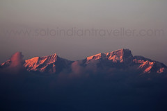 Sunset View of Kedarnath Peak from Khirsu (Anubhav Kochhar) Tags: travel light sunset india mountain snow mountains beautiful clouds canon wow lens eos evening amazing view indian awesome peak snowcapped views lovely peaks ef 100400mm snowcovered 400mm travelindia garhwal travelphotography kedarnath amazingview uttarakhand travelpic pauri amazingfeeling 60d uttrakhand khirsu canoneos60d indiantravel soloindiantraveller anubhavkochhar