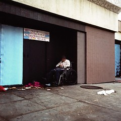Closed (ADMurr) Tags: santa blue light red man 6x6 film rollei square la kodak sears wheelchair low monica ektar smblvd