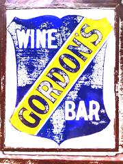 Gordon's Wine Bar (Steve Taylor (Photography)) Tags: street uk greatbritain blue england brown white house abstract london art texture sign st yellow bar digital wine unitedkingdom worn gb 47 gordons kipling villiers samualpepys