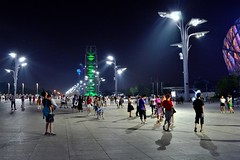 Beijing Olympic Green Park (Roselinde Alexandra) Tags: china park city travel urban green night square evening asia stadium beijing olympic