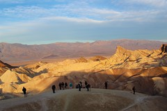 Visitors, photographers shot Zabriskie (daveynin) Tags: shadow mountain color sunrise nps deathvalley badlands zabriskie visitors palette rockformation