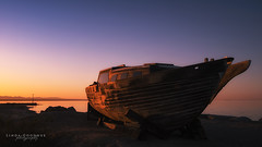 Sunrise at Bombay beach... (Linda Goodhue) Tags: california sea sky sun colour reflection beach water landscape boat wreckage saltonsea bombaybeach sunrsise boatwreckage nikond800 lindagoodhuephotography