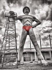 Mr. Super Tulsa Driller (Pejasar) Tags: sculpture oklahoma statue symbol super tulsa exposquare tulsadriller oildriller