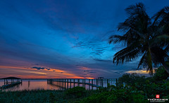 Florida Life: Indian River Sunset (Thncher Photography) Tags: sunset sky nature clouds reflections landscape outdoors pier dock florida sony scenic silhouettes stuart palmtrees fullframe fx waterscape indianriver hutchinsonisland palmcity southeastflorida zeissfe1635mmf4zaoss a7r2 ilce7rm2 sonya7r2 neoceanboulevard