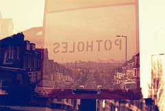 FH000007 (lundy_connor) Tags: road street house london sign canon exposure multiple a1 redscale