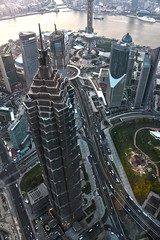 Jin Mao Tower - From Atop the Shanghai World Financial Center (lukedrich_photography) Tags: china tower skyscraper canon river asia shanghai highrise prc pudong  jinmao eastasia peoplesrepublicofchina  lujiazui kohnpedersenfox huangpuriver     shanghaiworldfinancialcenter  t1i canont1i moribuildingcompany