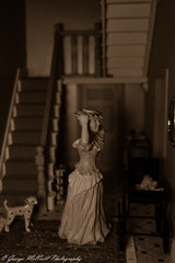 Going out (George McNeill photography) Tags: blackandwhite monochrome closeup victorianhouse closeupphotography lovephotography victorianwomen scalebuildings nikond7200 victoriandollshouse 365photographchallenge