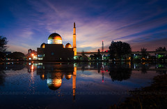 Magical sunrise at Masjid As Salam, Puchong (Norazamin Ayob) Tags: light sky lake reflection building nature public water architecture sunrise landscape religious dawn mirror twilight perfect muslim islam landmark mosque calm glorious malaysia bluehour colourful magical masjid puchong selangor assalam serenety