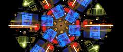 BusStops01aexcerpt (swaneerivermn) Tags: city abstract geometric cityscape citylights hexagon rotation