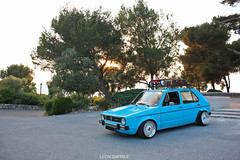 As the sun goes down - 1983 Mark 1 Volkswagen Golf (Leon.Daprile) Tags: sunset summer rabbit vw canon vintage golf volkswagen eos one 1 mark low oldschool bbs antibes stance rm bbswheels 450d sourkrauts petrolicious