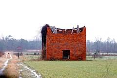 Rural America #22 (Gabriel FW Koch) Tags: building abandoned architecture barn rural canon outside eos dof zoom bokeh outdoor bricks stormy farmland structure telephoto rainy raining farmersfield