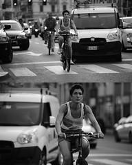 [La Mia Citt][Pedala] (Urca) Tags: portrait blackandwhite bw bike bicycle italia milano bn ciclista biancoenero mir bicicletta 2015 pedalare dittico 79951 nikondigitale ritrattostradale