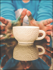 Working Hands (flashfix) Tags: selfportrait ontario canada lines contrast reflections grit hands nikon colours ottawa textures mug 40mm teacup colouring foodcolouring 2016 messyhands d7000 nikond7000 colourfulhands 2016inphotos february122016