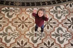 Jump (Jane Inman Stormer) Tags: family history smile tile jump pattern floor indiana historic littlegirl fleurdelis lookingdown ornate westbadensprings