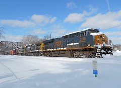 Snowbound (Trains & Trails) Tags: railroad winter snow cold train diesel pennsylvania snowstorm january engine transportation locomotive ge noreaster generalelectric csx fayettecounty 2016 connellsville gevo 3148 darkfuture es40dc yn3 widecab q39422