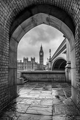 The Heart Of Westminster (damiendavis) Tags: city bridge houses england urban blackandwhite london clock monochrome westminster thames architecture river underpass mono blackwhite alley europe cityscape arch time politics bricks capital housesofparliament parliament bigben frame vault archway framing passage riverthames westminsterbridge palaceofwestminster capitalcity westminsterpalace capitalview thepassageoftime nikond610 theheartoflondon politicaltimes