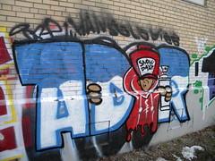 Snow dayz (Randall 667) Tags: street urban guy art train island graffiti artwork artist exploring tracks hans east providence solo figure writer piece rhode dip adore dies tagger ador