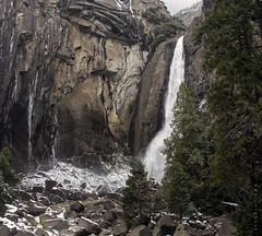 Lower Yosemite Falls (San Francisco Gal) Tags: cliff snow ice water rock waterfall yosemitenationalpark loweryosemitefalls