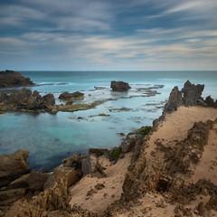 Primeval (Rodney Campbell) Tags: ocean longexposure sunset sky water clouds rocks au australia victoria portfairy yambuk thecraggs gnd06 littlestopper