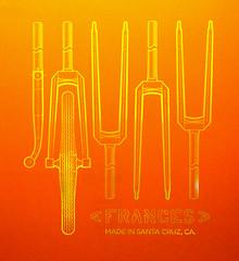 fork screen (J.Muir from Santa Cruz) Tags: bicycle fork shirts silkscreen crown frances tubular cycles francescycles