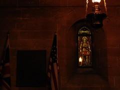 To the Glory of God (Massimo Gerardi) Tags: uk light red sky italy orange usa building brick art english church window lamp architecture lampe italia arte darkness general god patton mosaic flag jesus mosaico holy chiesa american sicily stmichael palermo anglican sicilia lampada holycross bandiere anglicano