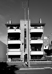 Art Deco Apartments (phunnyfotos) Tags: shadow summer bw building architecture facade mono nikon apartments shadows balcony australia monotone victoria flats domestic d750 balconies housing vic artdeco flagpole deco residential ballarat tvantenna earlymorninglight phunnyfotos nikond750