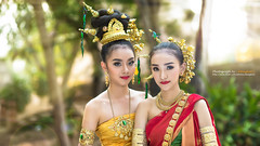 Beautiful Thai girls in Thai traditional costume (Alongkot.S) Tags: portrait woman flower nature girl beautiful fashion female asian thailand golden dance costume outfit nice colorful pretty respect outdoor folk buddhist formal silk culture jewelry ornament fabric single thai attractive tradition cloth charming elegant cheerful greeting tender polite accessory enchantress