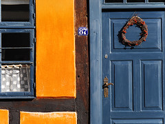You are welcome ! (Lumatic) Tags: door blue windows roof orange house texture window closeup architecture denmark colorful outdoor cottage entrance half welcome framework huset 87 timbered truss hyggelig nysted