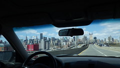 Grand Day: NYC by Car Toward the Bronx (catchesthelight) Tags: red building skyscrapers manhattan bluesky queens views steinway newyorkcityny springvisit travelbycar april2016