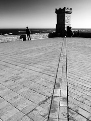 the lookout (piriskoskis.) Tags: barcelona tower castle lines bricks bcn fortress bnw watchtower montjuc mobileshot watchman montjuiccastle castelldemontjuc galaxys4