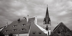 Rooftops (Eyes of Sibiu), Sibiu, Romania (ralfmartini805) Tags: roof bw rooftop church monochrome blackwhite eyes europe romania transylvania sibiu hermannstadt eyesofsibiu