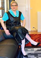 Ingrid021707 (ingrid_bach61) Tags: leather skirt blouse mature leder waistcoat bluse pleated weste faltenrock