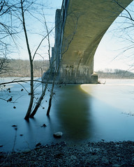 (.tom troutman.) Tags: longexposure 120 mamiya film analog 50mm kodak nj 7 viaduct pa 6x7 delawareriver nd400