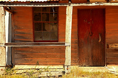 No 1 (Darren Schiller) Tags: door red building abandoned window architecture farmhouse facade rural ruins empty rustic rusty newsouthwales weathered disused derelict deserted decaying dilapidated weatherboard hillend sofala