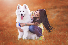 Vibes (PeterPetroff) Tags: boy portrait people orange woman dog white black love girl animals lady female puppy afternoon samoyed adorable posing stunning lovely charming attraction femine